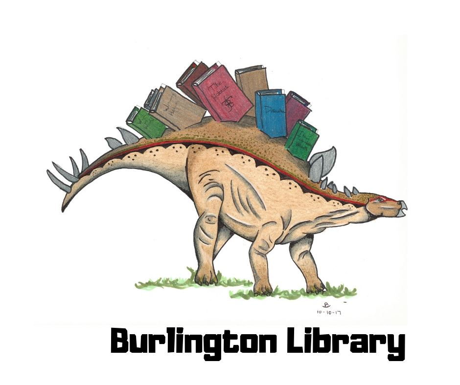 Burlington Library logo - dinosaur with books on spine