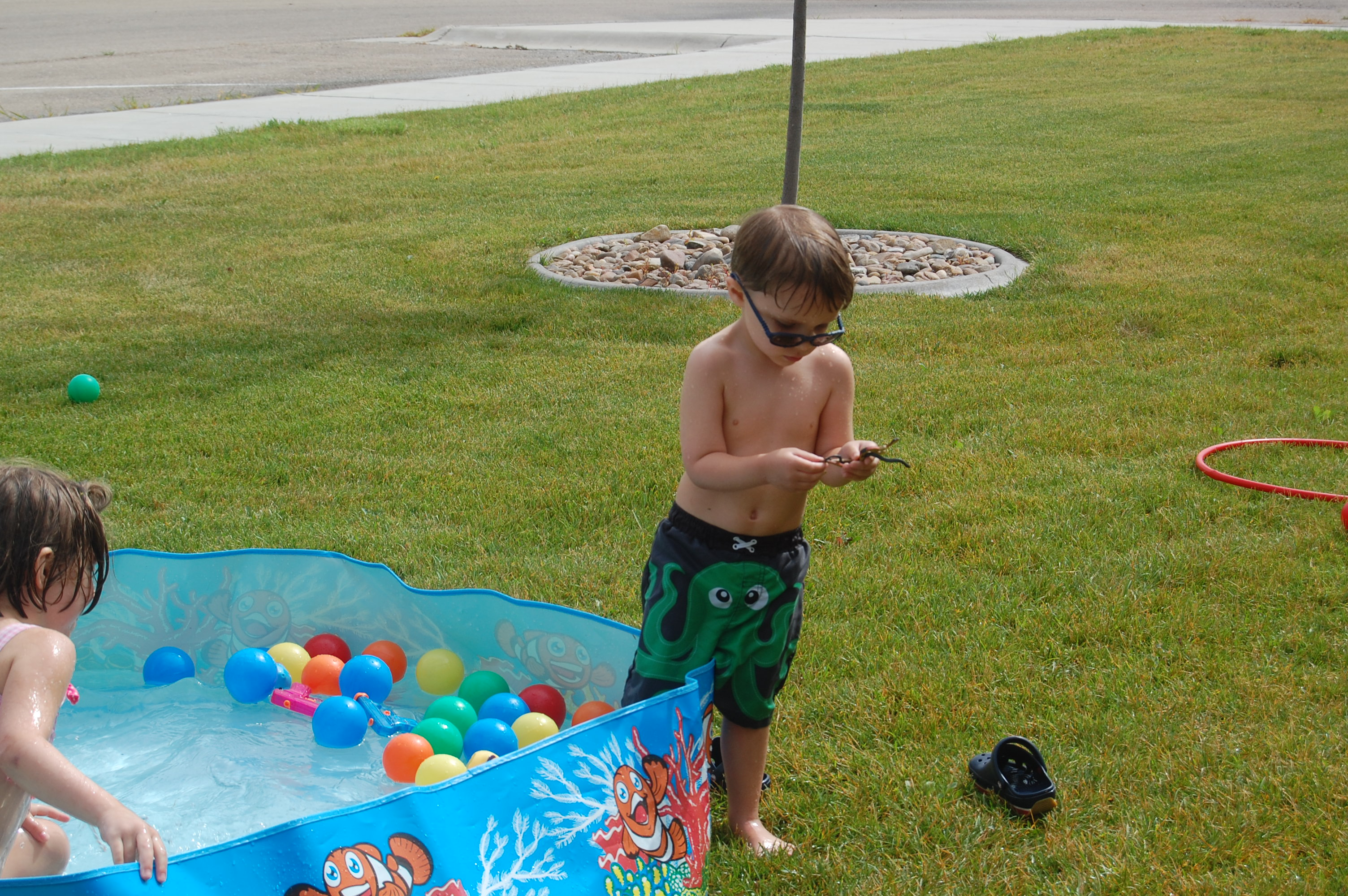 Max playing in the big pool