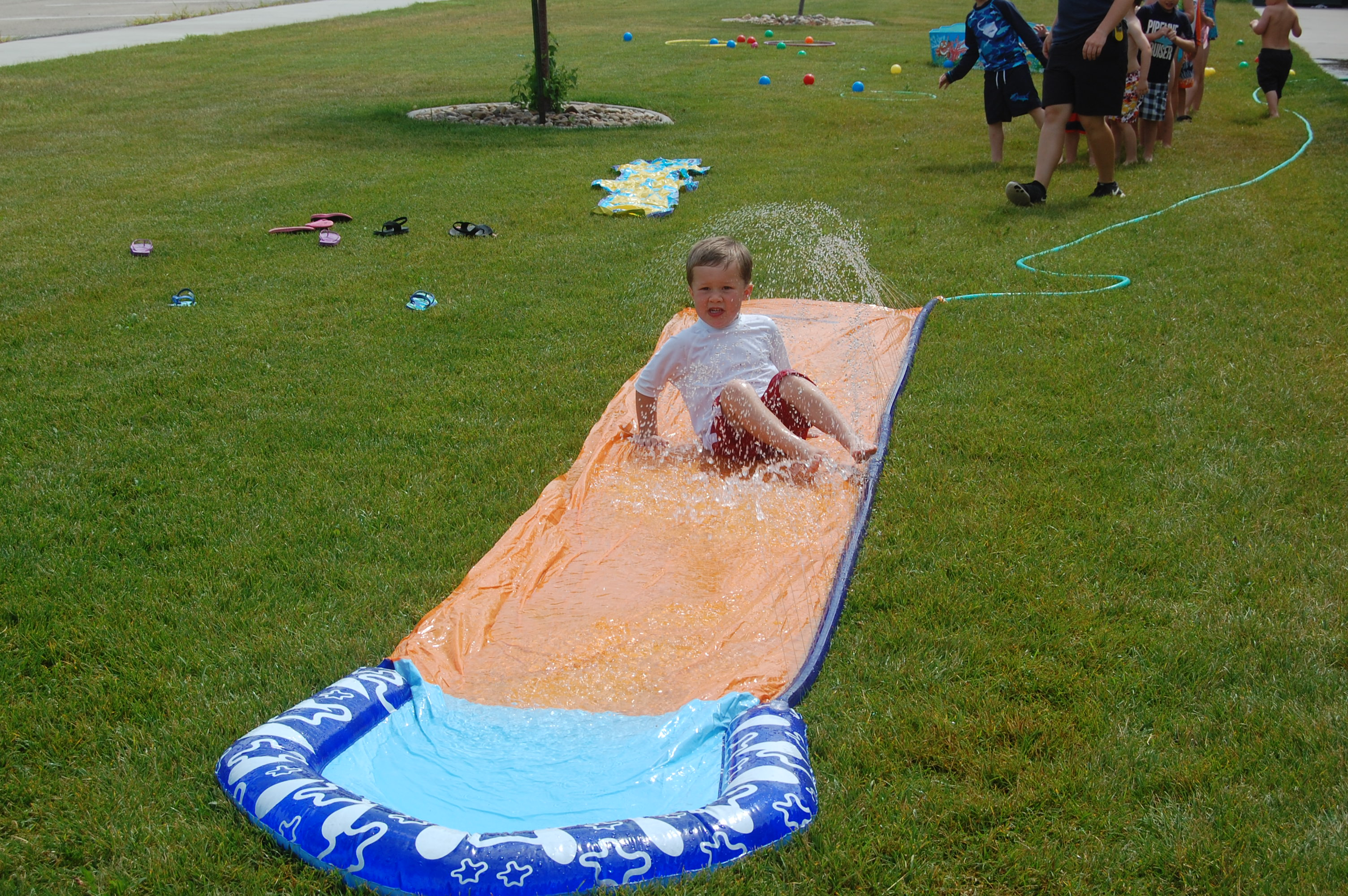 Colton on the slip n slide