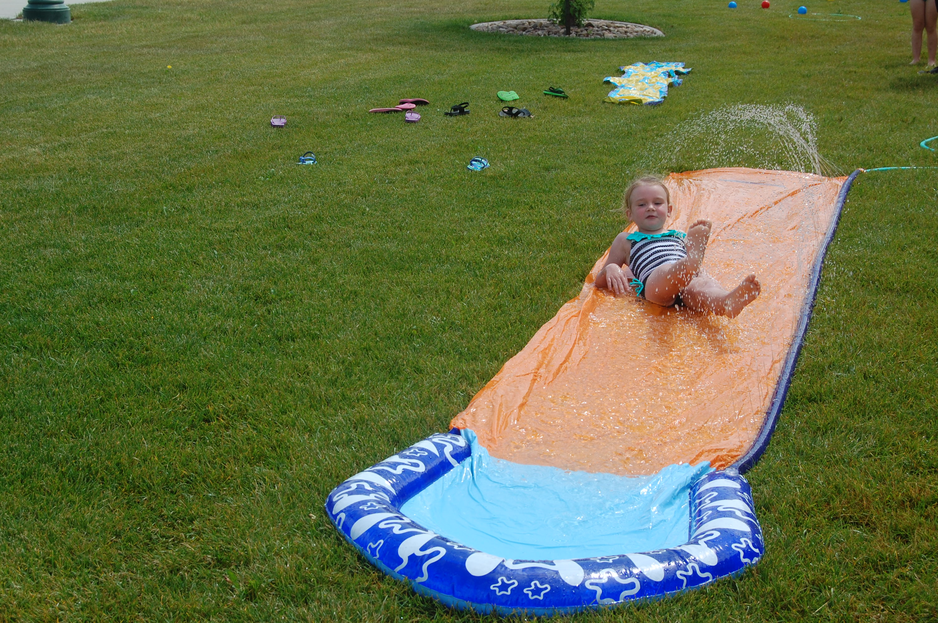 Devin on the slip n slide