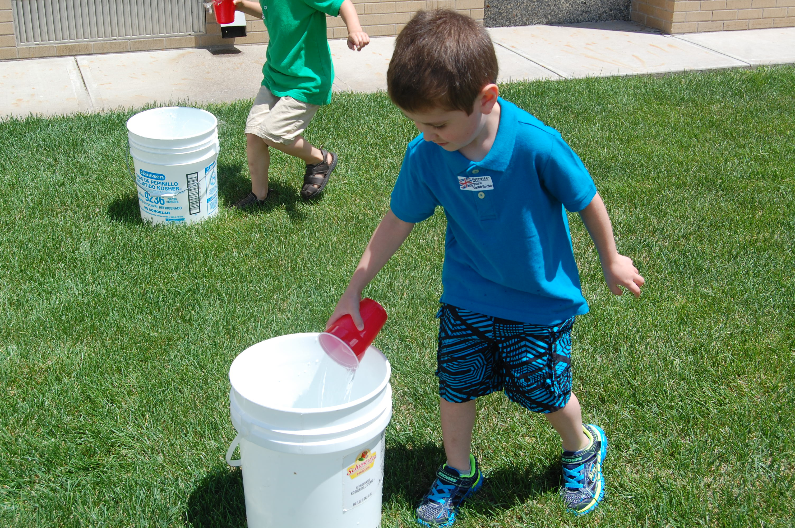 Brenner doing the water relay