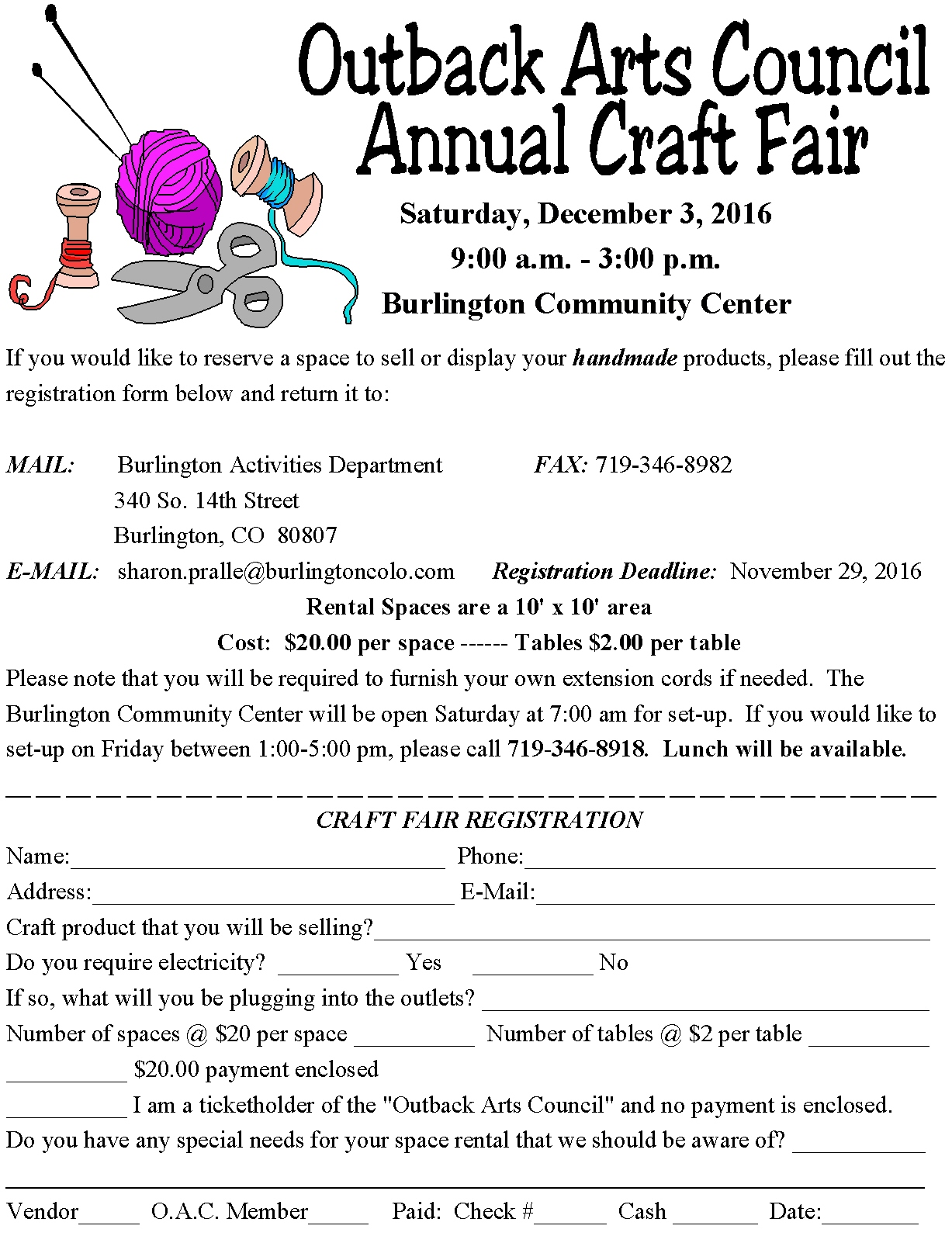 Craft Fair Flyer and Registration