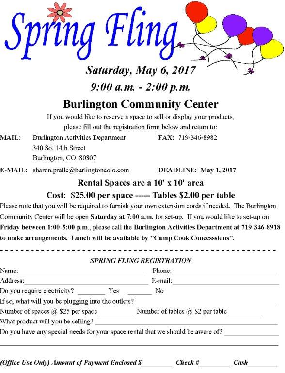 Spring Fling registration form